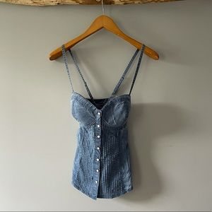 GUESS denim style shirred back corset top SZ S
